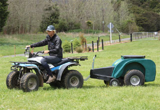 Paddock Groomer easy to tow with quad bike